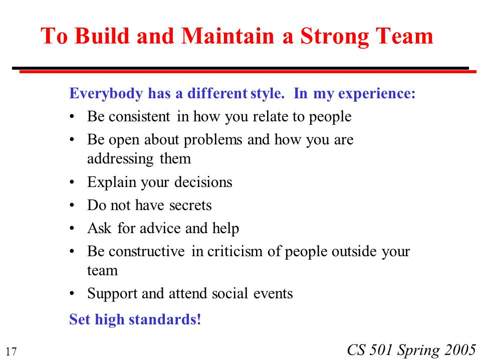 17 CS 501 Spring 2005 To Build and Maintain a Strong Team Everybody has a different style.