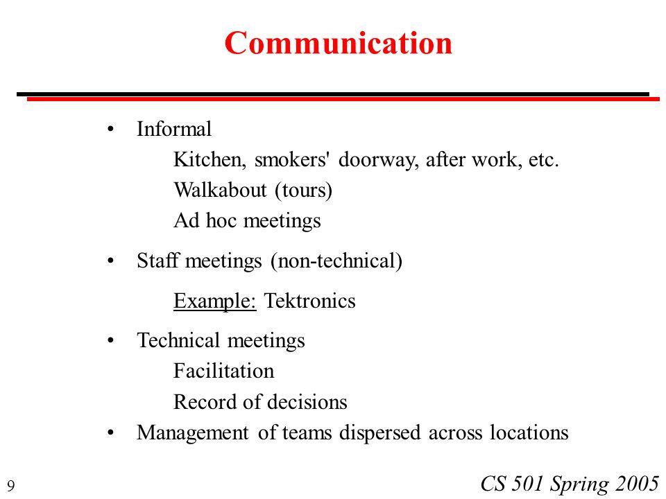 9 CS 501 Spring 2005 Communication Informal Kitchen, smokers doorway, after work, etc.