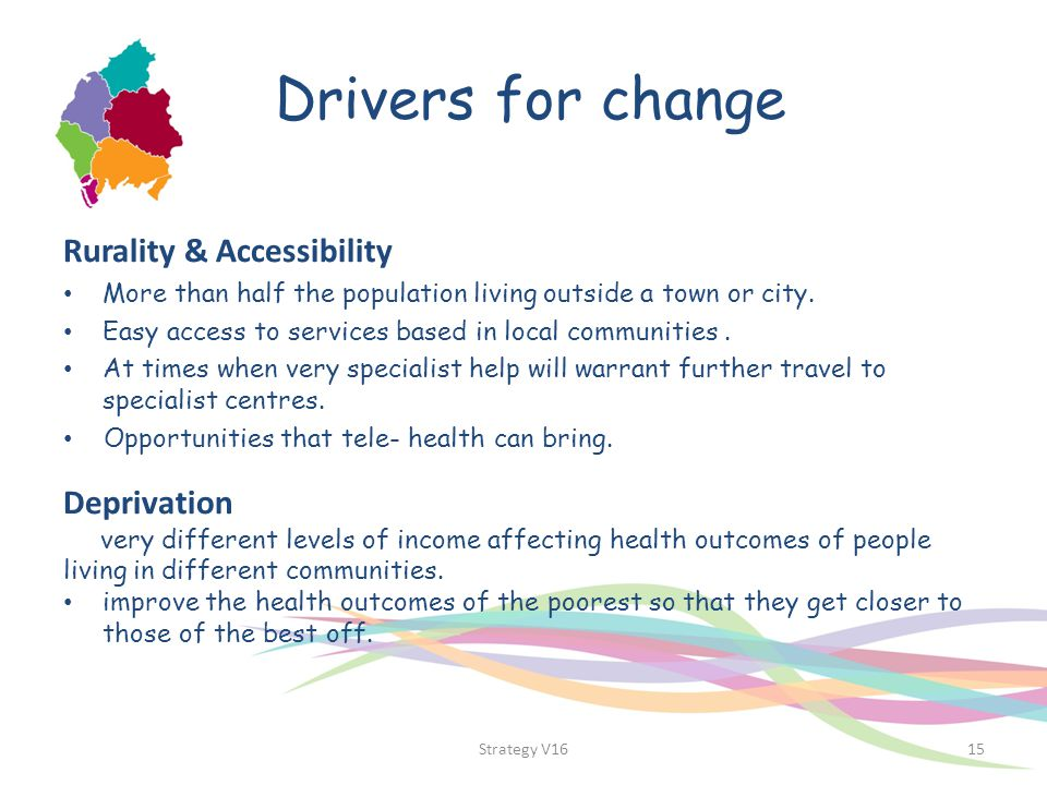 Drivers for change Rurality & Accessibility More than half the population living outside a town or city. Easy access to services based in local commun