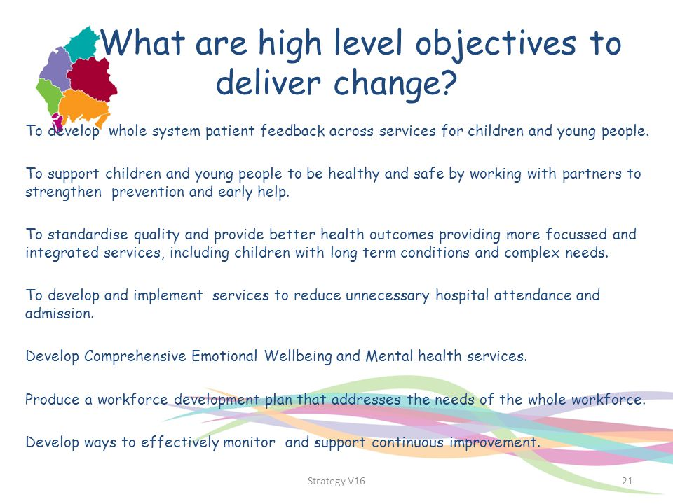 What are high level objectives to deliver change? To develop whole system patient feedback across services for children and young people. To support c