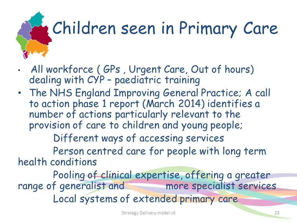 Children seen in Primary Care All workforce ( GPs, Urgent Care, Out of hours) dealing with CYP – paediatric training The NHS England Improving General