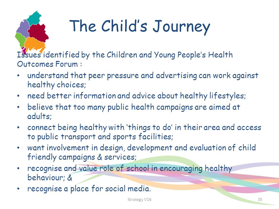 The Child's Journey Issues identified by the Children and Young People's Health Outcomes Forum : understand that peer pressure and advertising can wor