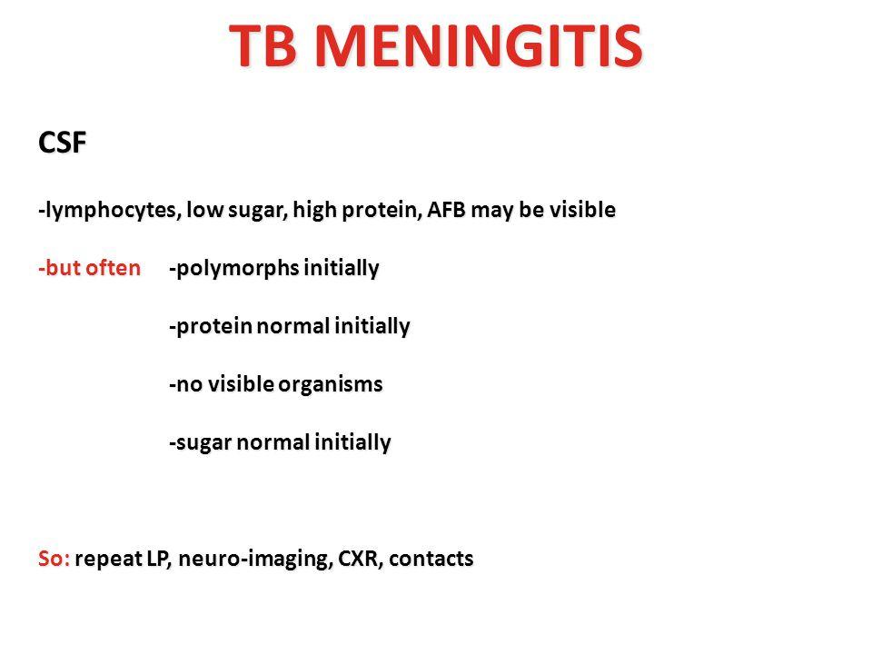 TB MENINGITIS CSF -lymphocytes, low sugar, high protein, AFB may be visible -but often-polymorphs initially -protein normal initially -protein normal