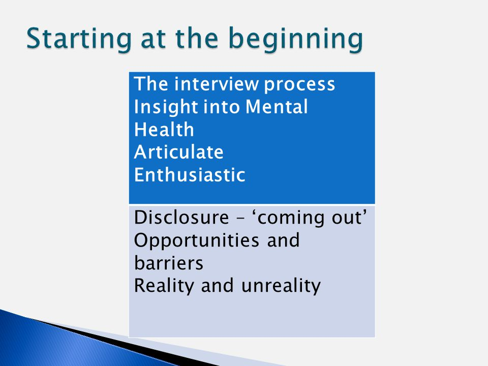 The interview process Insight into Mental Health Articulate Enthusiastic Disclosure – 'coming out' Opportunities and barriers Reality and unreality