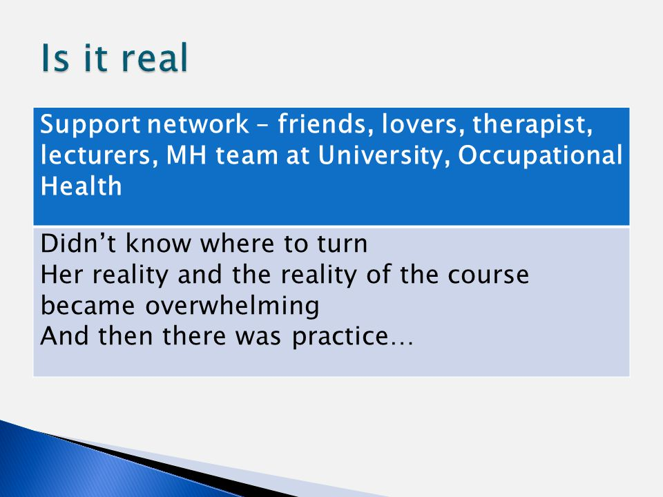 Support network – friends, lovers, therapist, lecturers, MH team at University, Occupational Health Didn't know where to turn Her reality and the reality of the course became overwhelming And then there was practice…