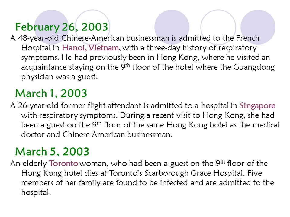 February 26, 2003 A 48-year-old Chinese-American businessman is admitted to the French Hospital in Hanoi, Vietnam, with a three-day history of respiratory symptoms.