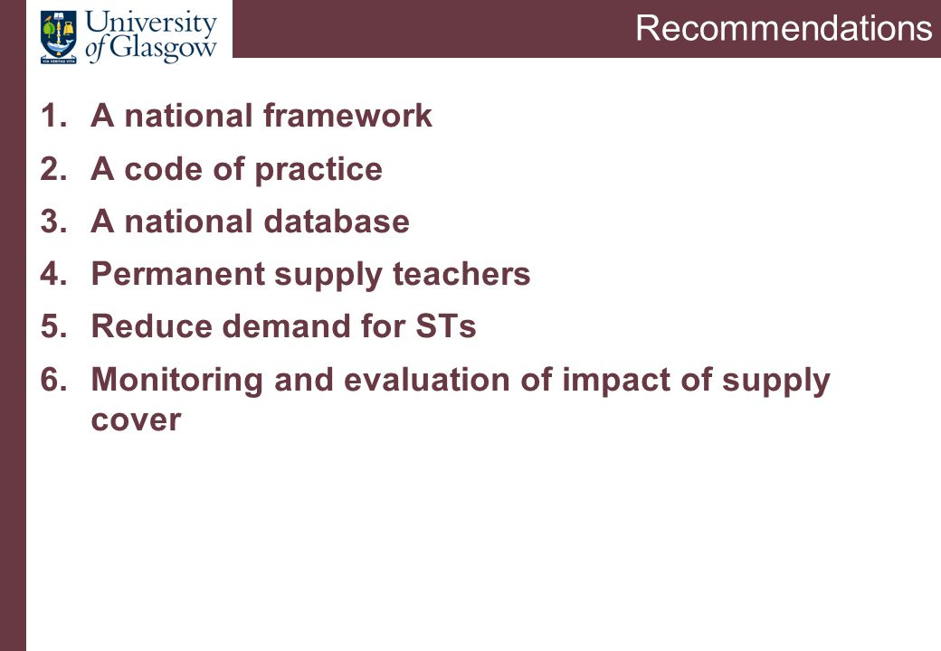 Findings from research in England 2005 Department for Education and Skills commissioned a team led from London Metropolitan University in 2004 to undertake a study on The Recruitment, Deployment and Management of Supply Teachers (Hutchings, James, Maylor, Menter and Smart) Report published by DfES in 2006 (Research Report 738)