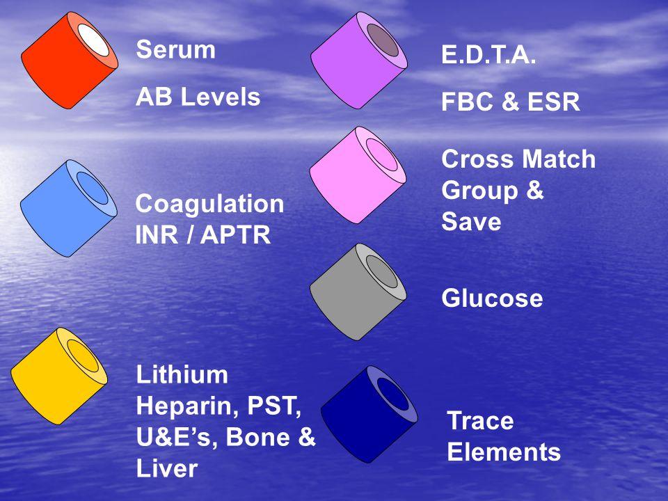 Serum AB Levels Coagulation INR / APTR Lithium Heparin, PST, U&E's, Bone & Liver E.D.T.A.