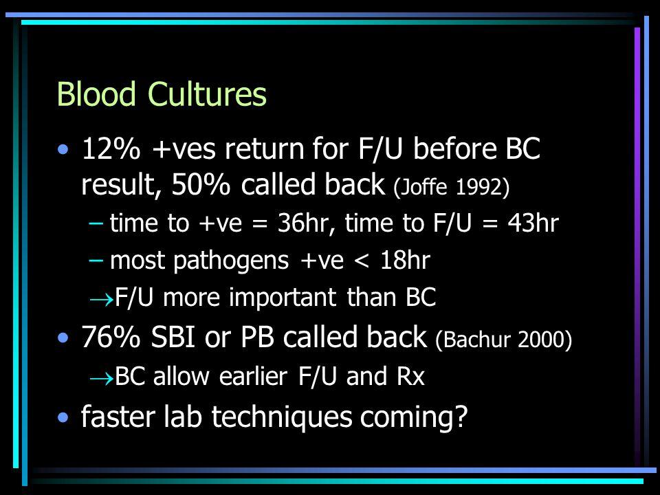 Blood Cultures 12% +ves return for F/U before BC result, 50% called back (Joffe 1992) –time to +ve = 36hr, time to F/U = 43hr –most pathogens +ve < 18