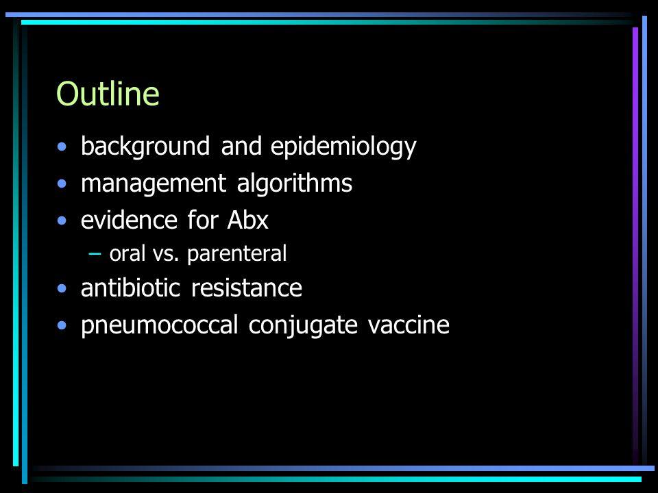 Outline background and epidemiology management algorithms evidence for Abx –oral vs. parenteral antibiotic resistance pneumococcal conjugate vaccine