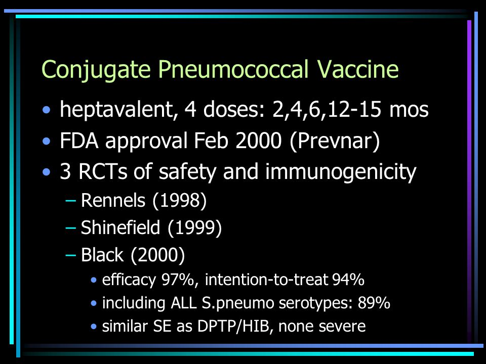 Conjugate Pneumococcal Vaccine heptavalent, 4 doses: 2,4,6,12-15 mos FDA approval Feb 2000 (Prevnar) 3 RCTs of safety and immunogenicity –Rennels (1998) –Shinefield (1999) –Black (2000) efficacy 97%, intention-to-treat 94% including ALL S.pneumo serotypes: 89% similar SE as DPTP/HIB, none severe