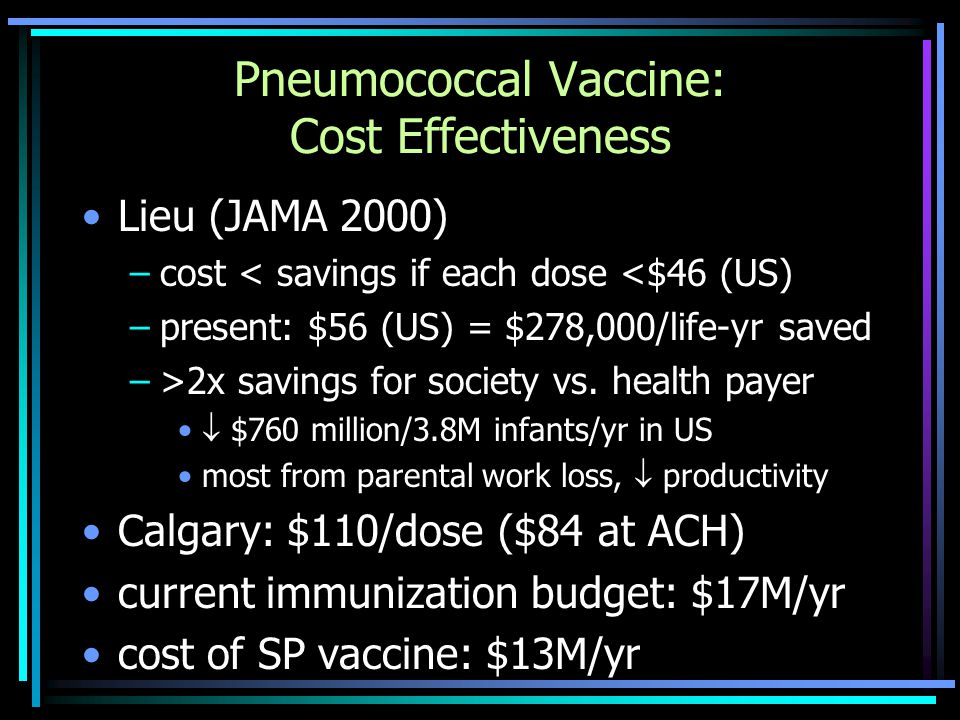 Pneumococcal Vaccine: Cost Effectiveness Lieu (JAMA 2000) –cost < savings if each dose <$46 (US) –present: $56 (US) = $278,000/life-yr saved –>2x savings for society vs.