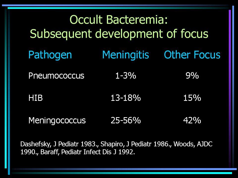 Occult Bacteremia: Subsequent development of focus Dashefsky, J Pediatr 1983., Shapiro, J Pediatr 1986., Woods, AJDC 1990., Baraff, Pediatr Infect Dis