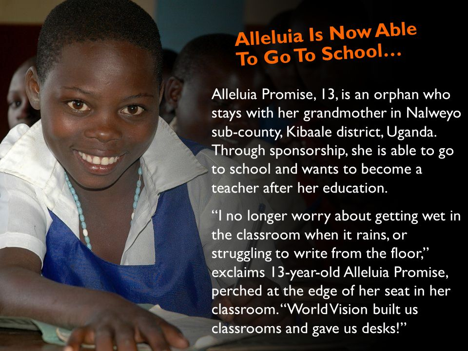 Alleluia Promise, 13, is an orphan who stays with her grandmother in Nalweyo sub-county, Kibaale district, Uganda.