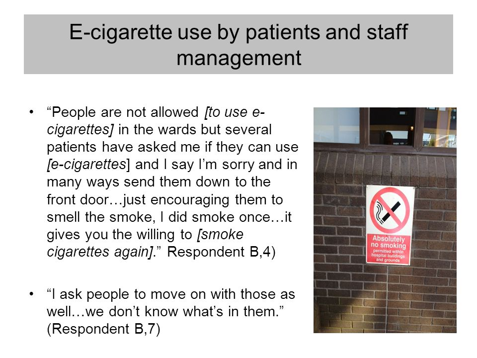 "E-cigarette use by patients and staff management ""People are not allowed [to use e- cigarettes] in the wards but several patients have asked me if the"