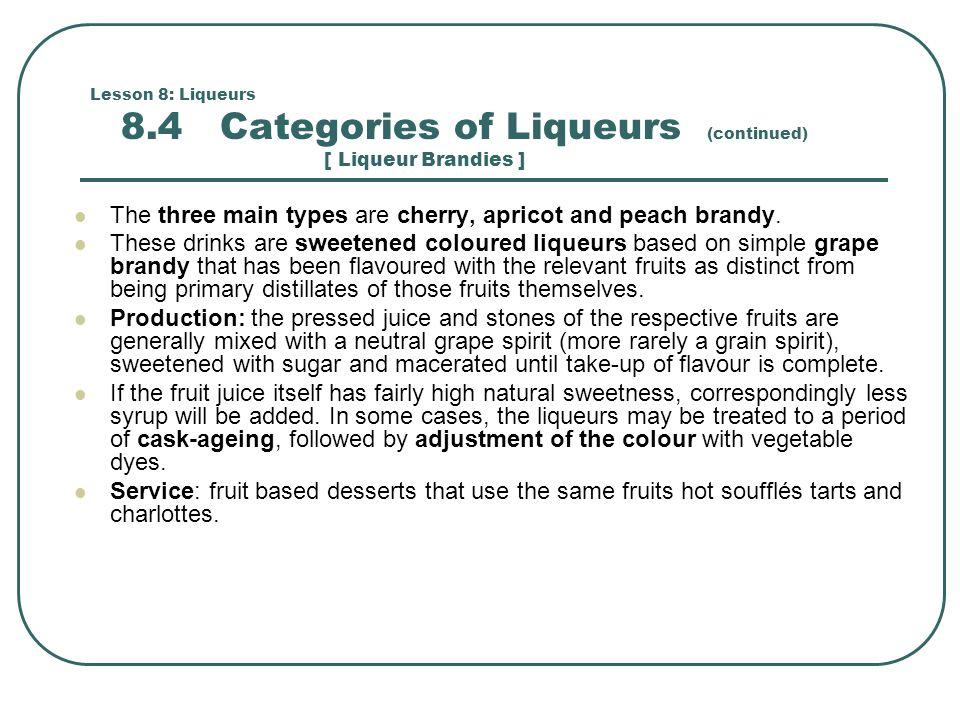 Lesson 8: Liqueurs 8.5 Worlds Most Famous Liqueurs Fruit liqueurs: Bajtra (prickly pear): Crème de Banane, Hpnotiq (tropical fruit), Kruškovac (pear), Lichido (lychee), Manzana verde (apple), Midori (melon), Pore William (pear), Pisang Ambon (banana), Pucker (apple), Southern Comfort (neutral grain spirits, peach, and spices), Prunelle (plum).