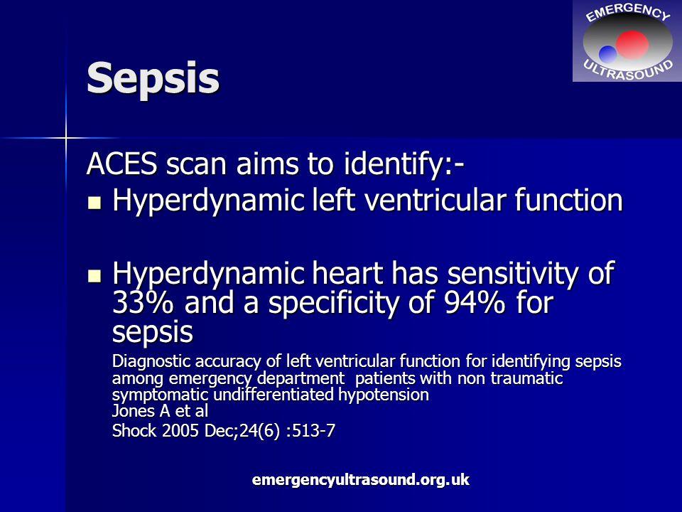 emergencyultrasound.org.uk Sepsis ACES scan aims to identify:- Hyperdynamic left ventricular function Hyperdynamic left ventricular function Hyperdyna