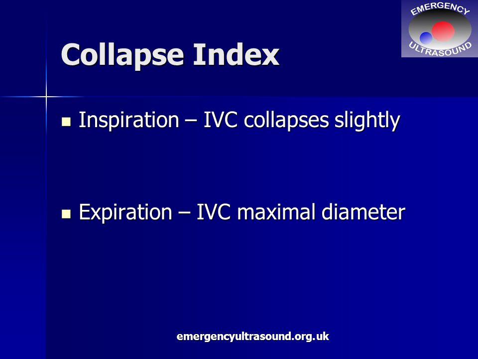 emergencyultrasound.org.uk Collapse Index Inspiration – IVC collapses slightly Inspiration – IVC collapses slightly Expiration – IVC maximal diameter