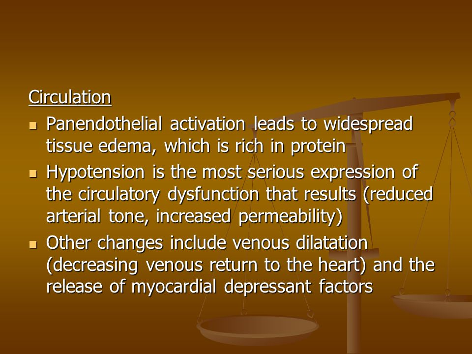 Circulation Panendothelial activation leads to widespread tissue edema, which is rich in protein Panendothelial activation leads to widespread tissue edema, which is rich in protein Hypotension is the most serious expression of the circulatory dysfunction that results (reduced arterial tone, increased permeability) Hypotension is the most serious expression of the circulatory dysfunction that results (reduced arterial tone, increased permeability) Other changes include venous dilatation (decreasing venous return to the heart) and the release of myocardial depressant factors Other changes include venous dilatation (decreasing venous return to the heart) and the release of myocardial depressant factors