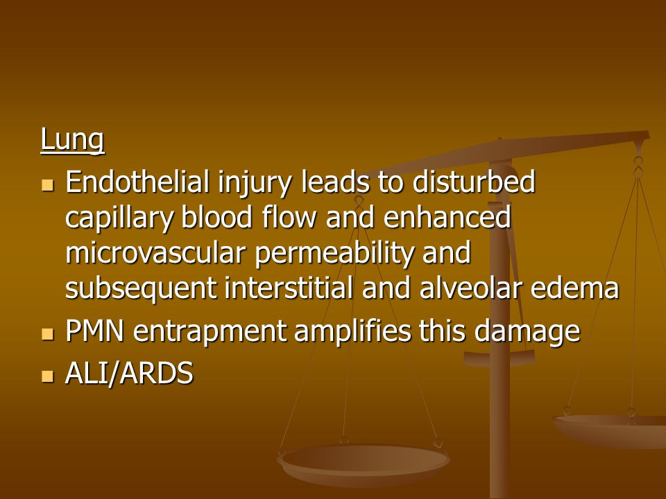 Lung Endothelial injury leads to disturbed capillary blood flow and enhanced microvascular permeability and subsequent interstitial and alveolar edema