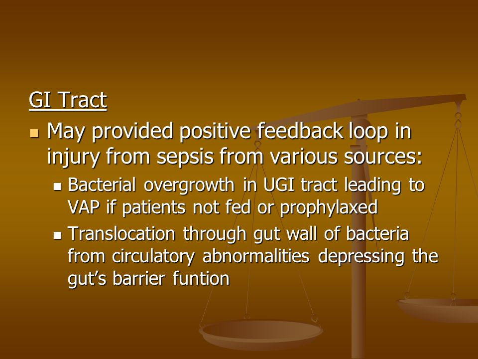GI Tract May provided positive feedback loop in injury from sepsis from various sources: May provided positive feedback loop in injury from sepsis fro