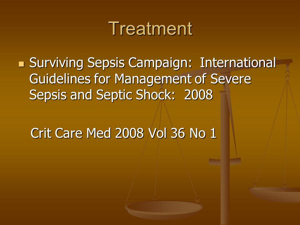 Treatment Surviving Sepsis Campaign: International Guidelines for Management of Severe Sepsis and Septic Shock: 2008 Surviving Sepsis Campaign: Intern