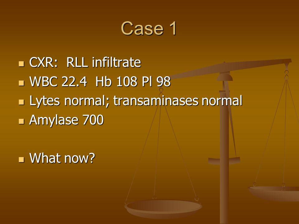 Case 1 CXR: RLL infiltrate CXR: RLL infiltrate WBC 22.4 Hb 108 Pl 98 WBC 22.4 Hb 108 Pl 98 Lytes normal; transaminases normal Lytes normal; transaminases normal Amylase 700 Amylase 700 What now.