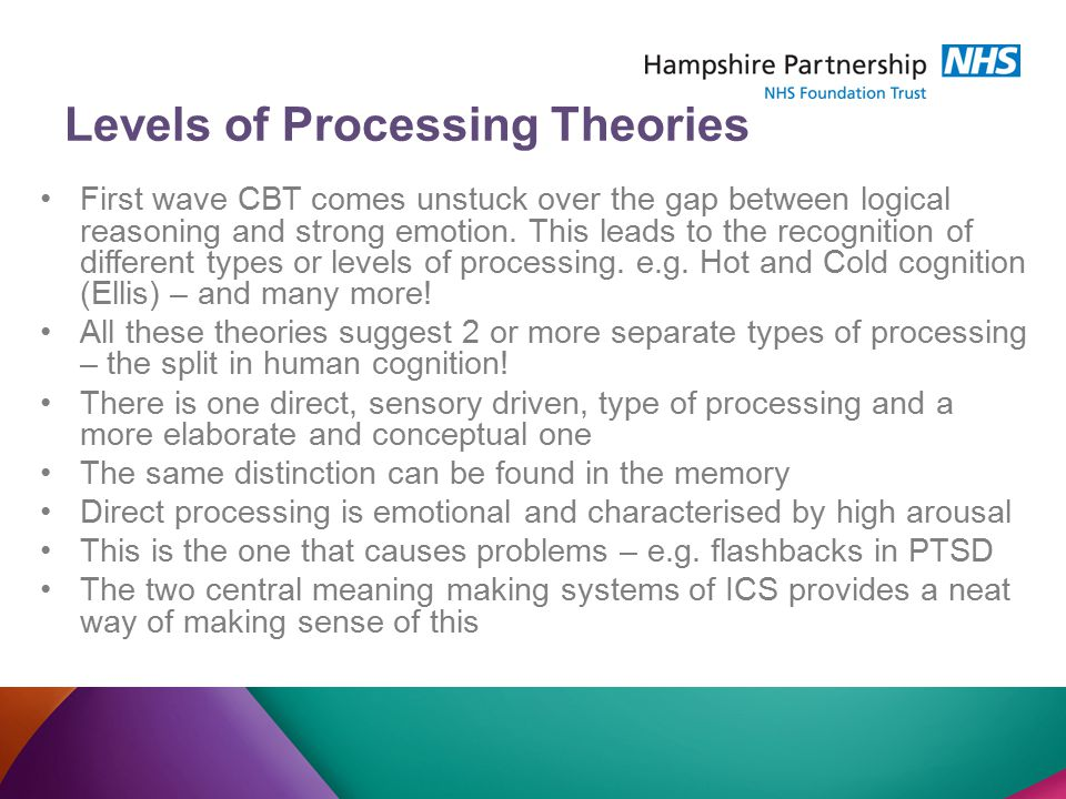 Levels of Processing Theories First wave CBT comes unstuck over the gap between logical reasoning and strong emotion.