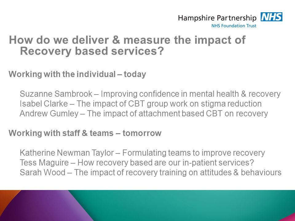 How do we deliver & measure the impact of Recovery based services.
