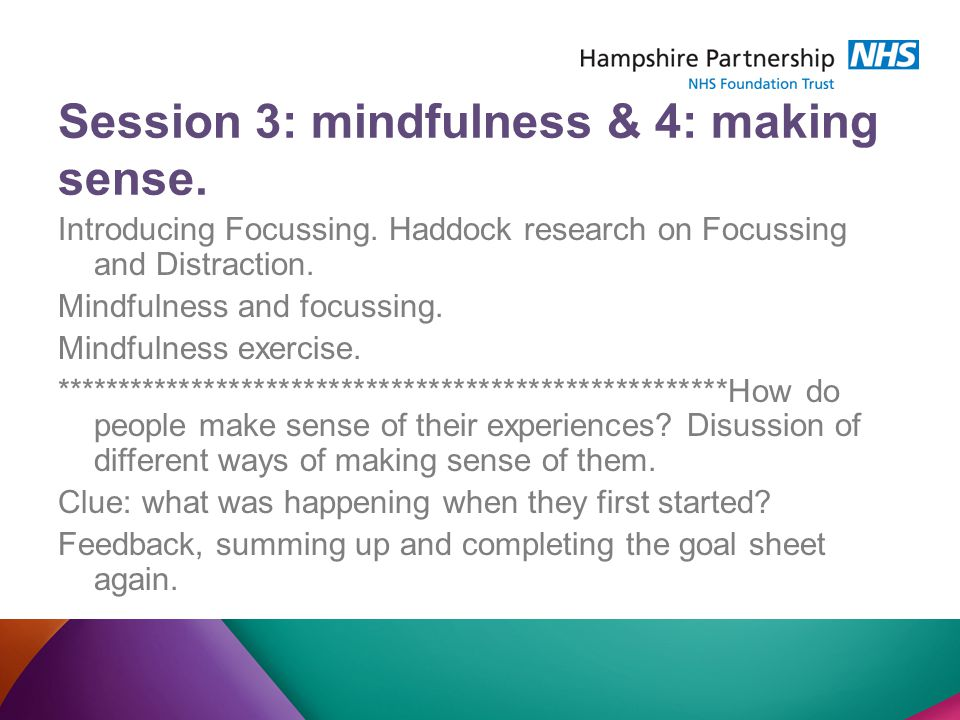 Session 3: mindfulness & 4: making sense. Introducing Focussing.