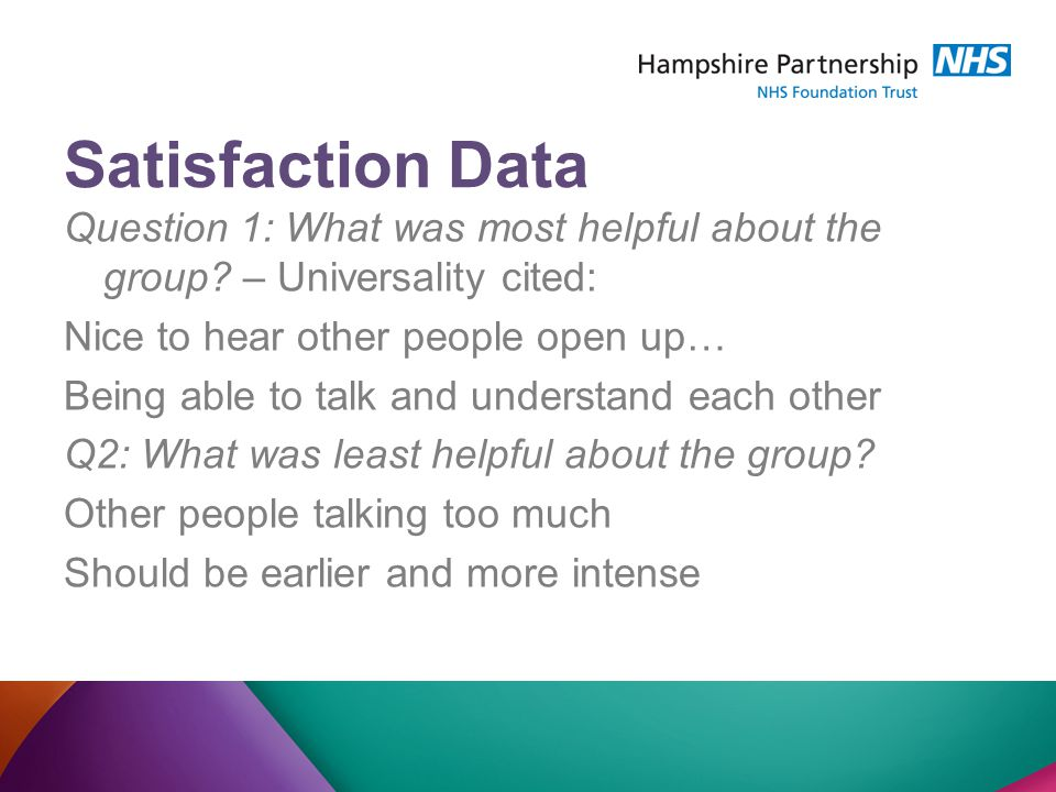 Satisfaction Data Question 1: What was most helpful about the group.