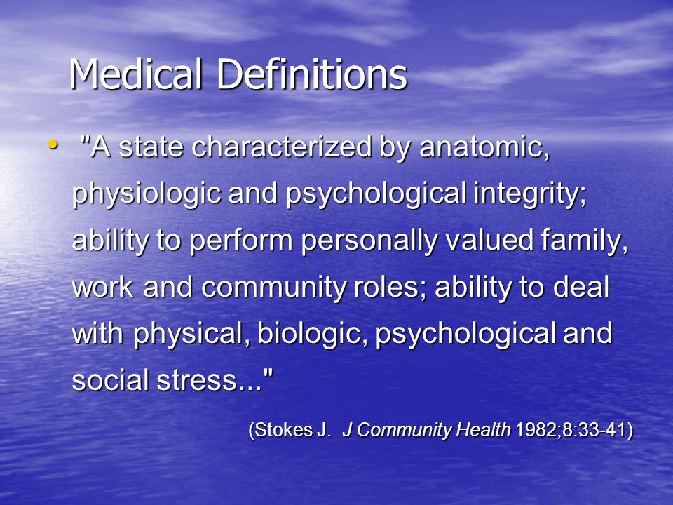 Health &Wellness Definitions World Health Organization (1948) World Health Organization (1948)