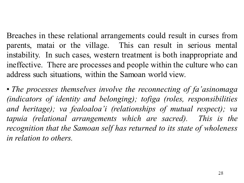 28 Breaches in these relational arrangements could result in curses from parents, matai or the village.