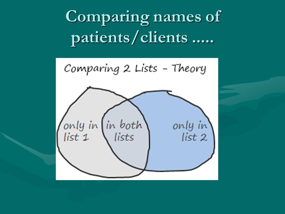 Comparing names of GP patients/ DCC clients.....