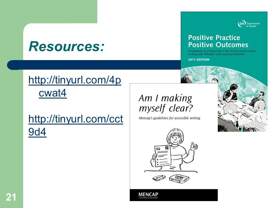 Resources: http://tinyurl.com/4p cwat4 http://tinyurl.com/cct 9d4 21