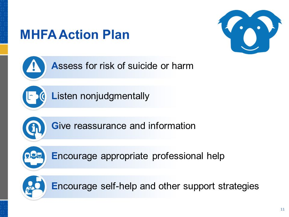 MHFA Action Plan Assess for risk of suicide or harm Listen nonjudgmentally Give reassurance and information Encourage appropriate professional help En