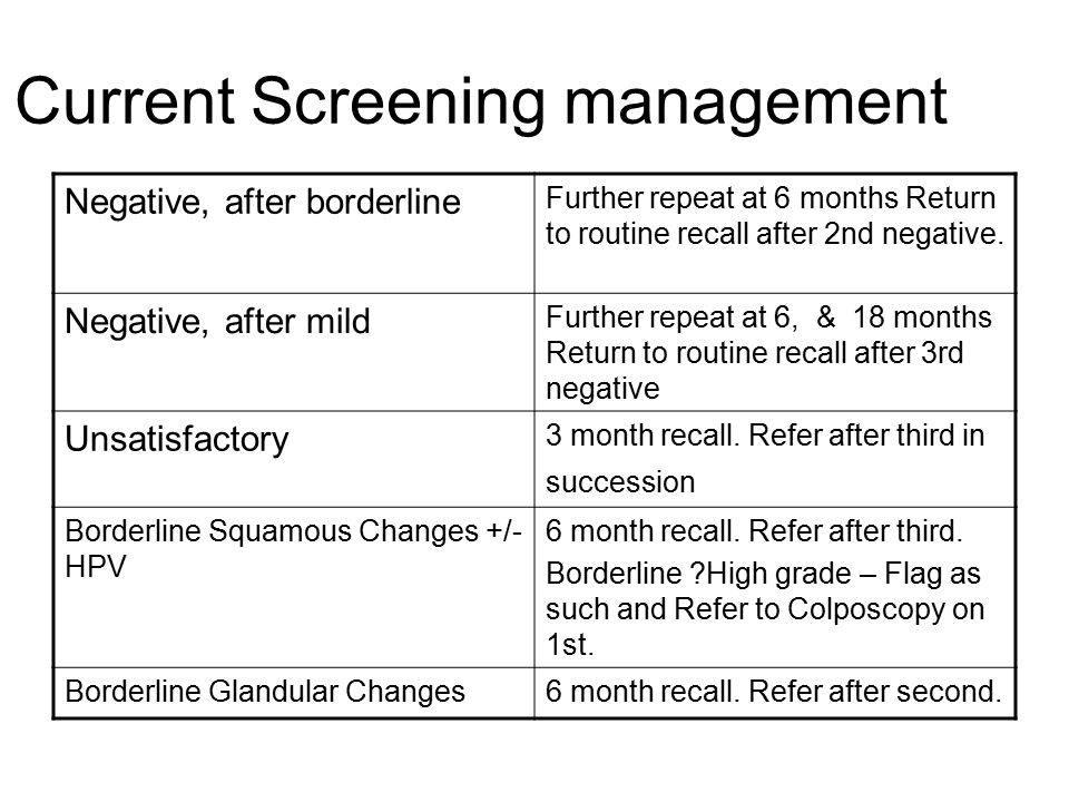 Current Screening management Mild dyskaryosisRepeat in 6 months.