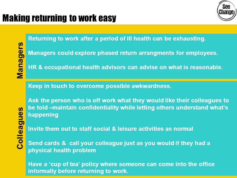 Making returning to work easy Returning to work after a period of ill health can be exhausting. Managers could explore phased return arrangments for e