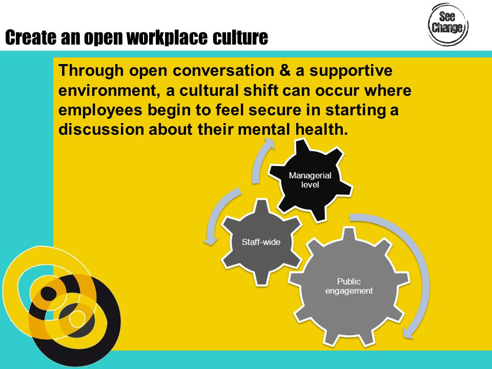 Create an open workplace culture Through open conversation & a supportive environment, a cultural shift can occur where employees begin to feel secure in starting a discussion about their mental health.