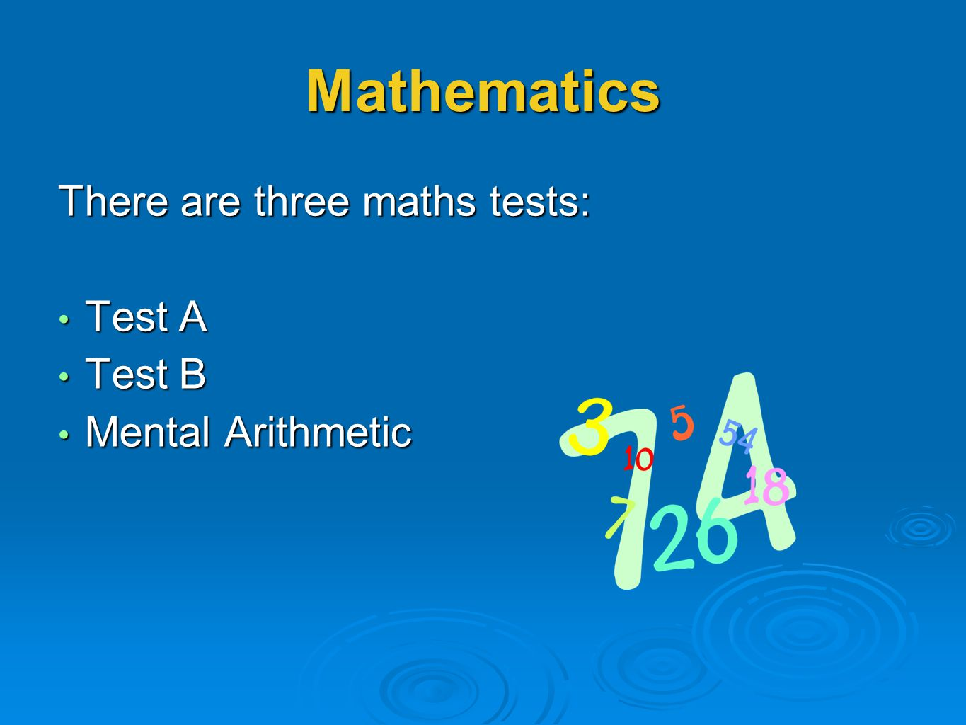 Mathematics There are three maths tests: Test A Test A Test B Test B Mental Arithmetic Mental Arithmetic