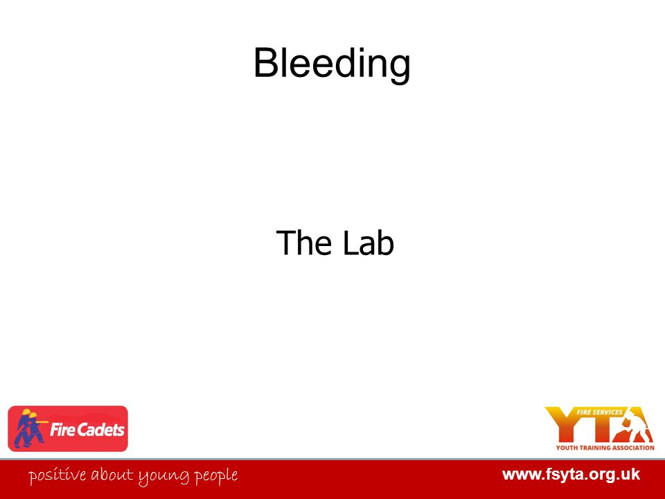 FIRE SERVICES YOUTH TRAINING ASSOCIATION positive about young people www.fsyta.org.uk FIRE SERVICES YOUTH TRAINING ASSOCIATION Bleeding The Lab