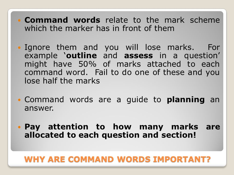 WHY ARE COMMAND WORDS IMPORTANT.