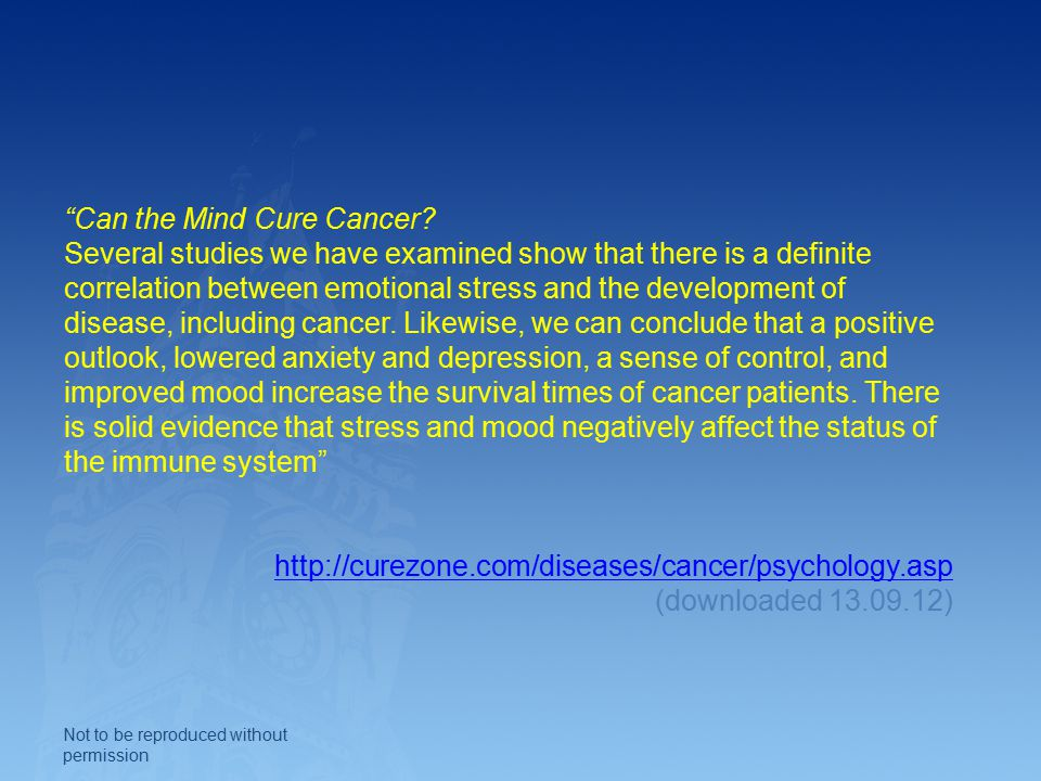 Can the Mind Cure Cancer.