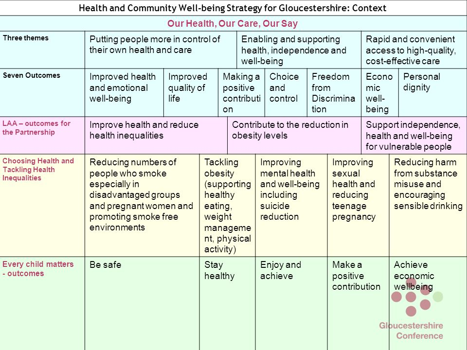 Health and Community Well-being Strategy for Gloucestershire: Context Our Health, Our Care, Our Say Three themes Putting people more in control of their own health and care Enabling and supporting health, independence and well-being Rapid and convenient access to high-quality, cost-effective care Seven Outcomes Improved health and emotional well-being Improved quality of life Making a positive contributi on Choice and control Freedom from Discrimina tion Econo mic well- being Personal dignity LAA – outcomes for the Partnership Improve health and reduce health inequalities Contribute to the reduction in obesity levels Support independence, health and well-being for vulnerable people Choosing Health and Tackling Health Inequalities Reducing numbers of people who smoke especially in disadvantaged groups and pregnant women and promoting smoke free environments Tackling obesity (supporting healthy eating, weight manageme nt, physical activity) Improving mental health and well-being including suicide reduction Improving sexual health and reducing teenage pregnancy Reducing harm from substance misuse and encouraging sensible drinking Every child matters - outcomes Be safeStay healthy Enjoy and achieve Make a positive contribution Achieve economic wellbeing Gloucestershire Health and Community Well-being Partnership's commitments Keeping people well and living longer and working to reduce health inequalities When people become unwell, minimising the impact of disease on their quality of life Putting people first in health and social care