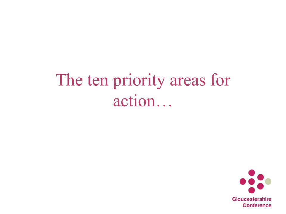 The ten priority areas for action…