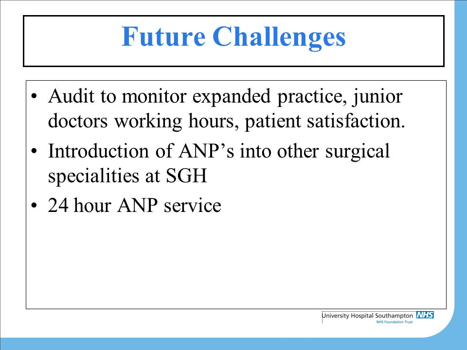 Future Challenges Audit to monitor expanded practice, junior doctors working hours, patient satisfaction.