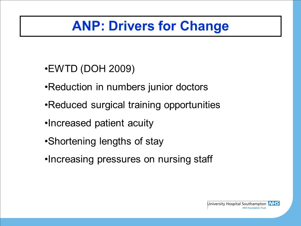 ANP: Drivers for Change EWTD (DOH 2009) Reduction in numbers junior doctors Reduced surgical training opportunities Increased patient acuity Shortening lengths of stay Increasing pressures on nursing staff
