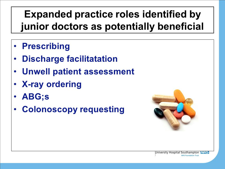 Expanded practice roles identified by junior doctors as potentially beneficial Prescribing Discharge facilitatation Unwell patient assessment X-ray ordering ABG;s Colonoscopy requesting