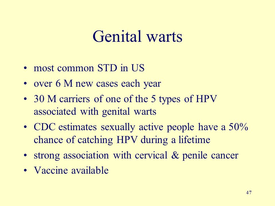 47 Genital warts most common STD in US over 6 M new cases each year 30 M carriers of one of the 5 types of HPV associated with genital warts CDC estim