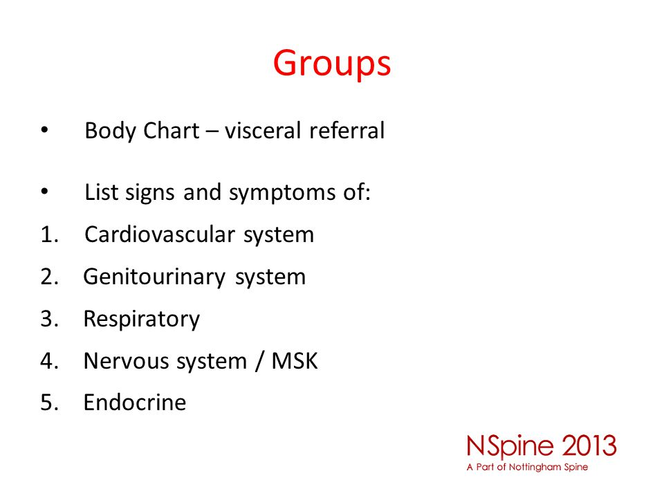 Groups Body Chart – visceral referral List signs and symptoms of: 1.Cardiovascular system 2. Genitourinary system 3. Respiratory 4. Nervous system / M